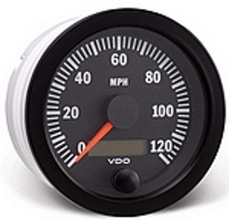 "VDO Vision Speedometer, Electronic Programmable 0-120MPH with Resettable LCD Trip Odometer, Part #437-153, 3 3/8"" (85mm) Diameter, Thru-Dial Lighting   For use with hall effect, inductive, OEM electronic output, and generator senders. For 24 volt operation, replace lighting bulbs with 24 volt bulbs...  VDO Vision Black Gauges use fiber optic technology to illuminate gauge pointers for unmatched readability, and they feature VDO's tri-optic through-dial lighting for superb night clarity. VDO Spin-Lok mounting provides maximum flexibility and easy installation without brackets, nuts, or washers by using a spin-on clamp to hold gauges with 360° of force, preventing gauge rotation and panel warping. Mechanical pressure and temperature gauges include metal housings with U-clamp brackets."