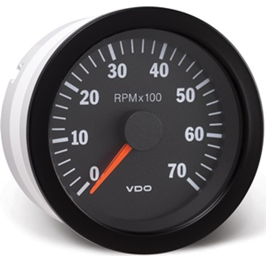 "VDO Vision Programmable Tachometer, 0-7000 RPM, 12V, 4-6-8 cylinder. For use with alternator, ignition, and 12 volt square wave applications. 3 3/8"" (85mm) ...  VDO Vision Black Gauges use fiber optic technology to illuminate gauge pointers for unmatched readability, and they feature VDO's tri-optic through-dial lighting for superb night clarity. VDO Spin-Lok mounting provides maximum flexibility and easy installation without brackets, nuts, or washers by using a spin-on clamp to hold gauges with 360° of force, preventing gauge rotation and panel warping. Mechanical pressure and temperature gauges include metal housings with U-clamp brackets.  Features:      Black Dials with Matching Bezels     Clear White Graphics     Red Pointers     Spin-Lok Mounting     Note: Sending units not included with individual gauges"
