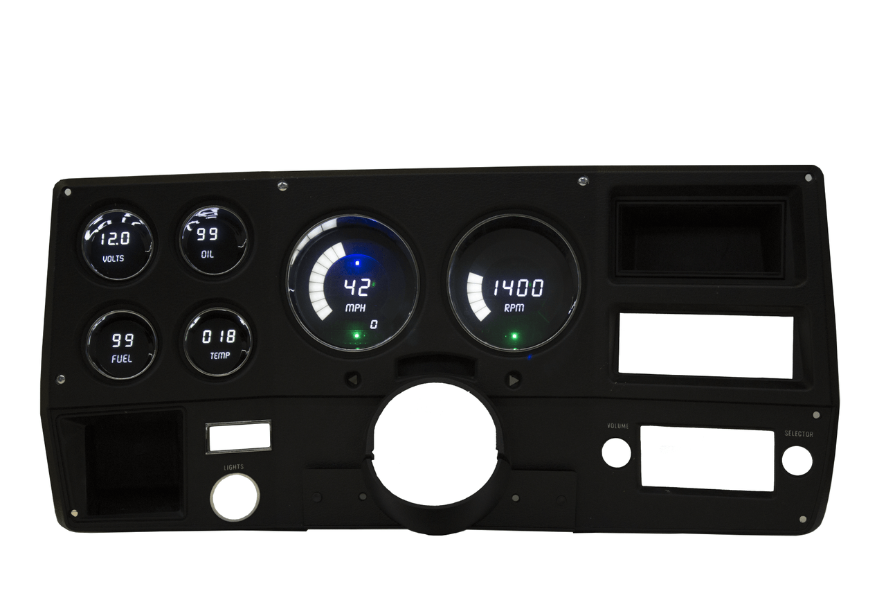 "1973-87 Chevy Truck LED Digital Gauge Panel - DP6004 The 1973-87 Chevy Truck has the look and feel of elegance and will make you the envy of all Chevy truck lovers with your new 73-87 Chevy Truck LED Digital Replacement Gauge Panel by Intellitronix. Complete with direct fit printed circuit boards, custom fit ""smoked"" plexiglass faceplate, universal temperature, oil pressure, and speedometer sending units with sender and sensor for vehicles without electronic transmission or cruise control, and instructions for installation."