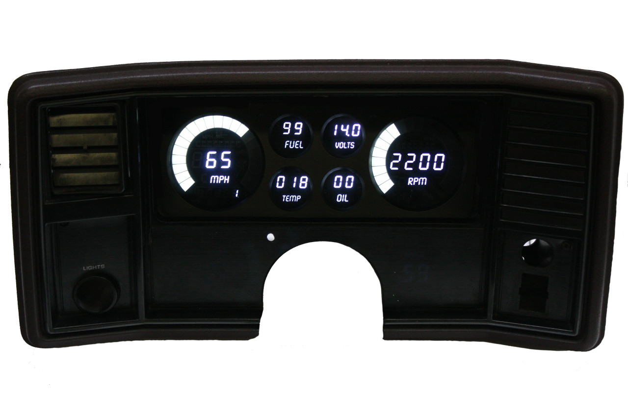 "1978-1988 Monte Carlo-El Camino LED Digital Gauge Panel - DP9002  Your classic 1978-1988 Monte Carlo or El Camino will look stunning with Intellitronix 1978-1988 Monte Carlo-El Camino LED Digital Gauge Panel. 1978-1988 Monte Carlo-El Camino LED Digital Gauge Replacement Panel comes complete with direct fit printed circuit boards, custom fit ""smoked"" plexiglass face plates, universal temperature, oil pressure, and speedometer sending units with senders and sensors for vehicles without electronic transmission or cruise control."