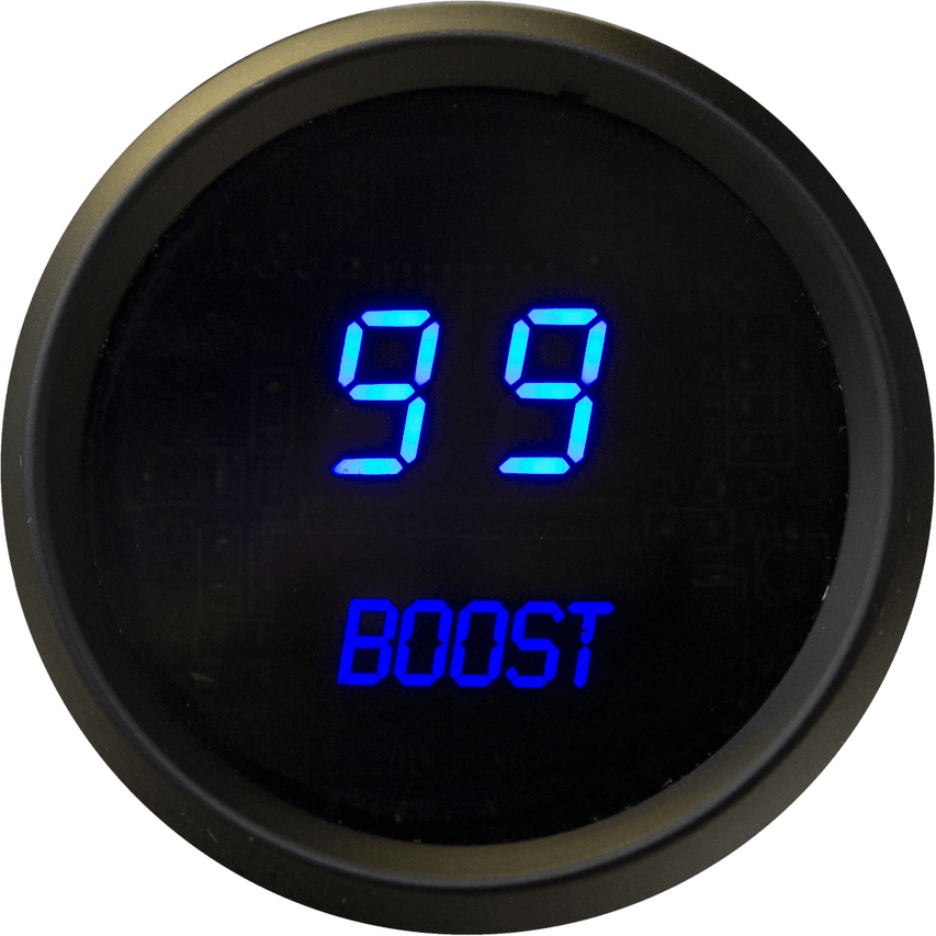 Boost LED Digital Chrome Bezel - MS9011 Measure boost pressure with this bright LED Digital Boost pressure gauge from Intellitronix. The digital Boost gauges with LED technology is microprocessor-controlled with 0 to 30 PSI accuracy and works with any vehicle. The gauge has precision accuracy and easy viewing in sunlight. Our Digits are 33% Larger than any other Digital Boost Gauge on the market, guaranteed! Better precision and better visibility than you can buy with any other manufacturer!