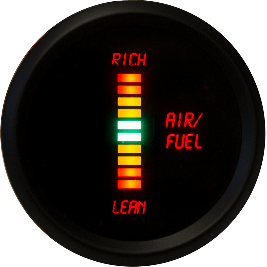 Air-Fuel Ratio LED Digital Bargraph Black Bezel - M7008 Now you can really watch the ratio of fuel to air in your vehicle with the Intellitronix super bright LED Air-Fuel Ratio LED Digital Bargraph gauge!  It is accurate, super bright, and intelligent all in one.
