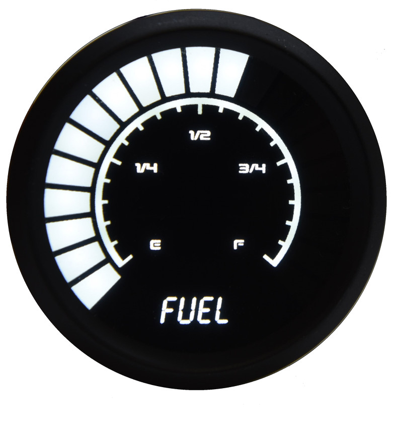 Fuel Level Analog LED Bargraph Black Bezel – B9016 The power of your vehicle is truly only complimented by one other crucial asset: appearance. Now with the new line of Individual Analog Bargraph Gauges, you can finally leave that worry deep in the past. Now you can really watch your fuel level with the Intellitronix super bright LED digital fuel gauge!  Fuel Level Analog LED Bargraph Gauge is microprocessor controlled with 0 to 99% fuel remaining accuracy!