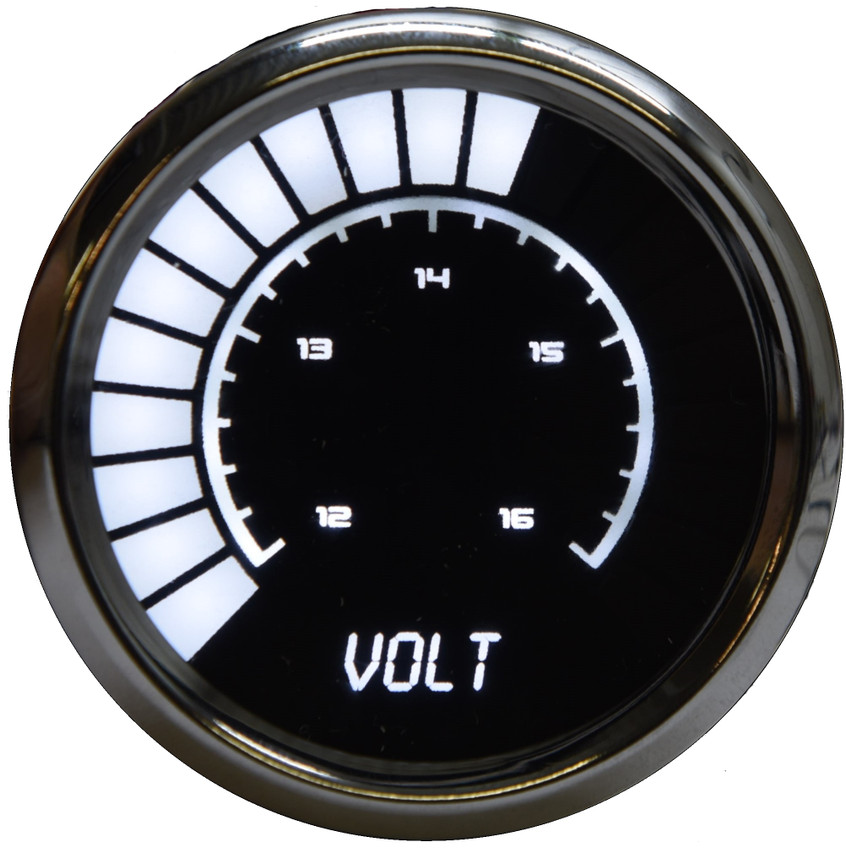 Voltmeter Analog LED Bargraph Chrome Bezel – BS9015  The power of your vehicle is truly only complimented by one other crucial asset: appearance. Now with the new line of Individual Analog LED Bargraph Gauges, you can finally leave that worry deep in the past. Now you can really watch your voltage level with the Intellitronix super bright LED digital voltmeter! The Voltmeter Analog LED Bargraph is a microprocessor controlled gauge with 12 to 16 volts accuracy and works with any vehicle! It is accurate, super bright, and intelligent all in one.