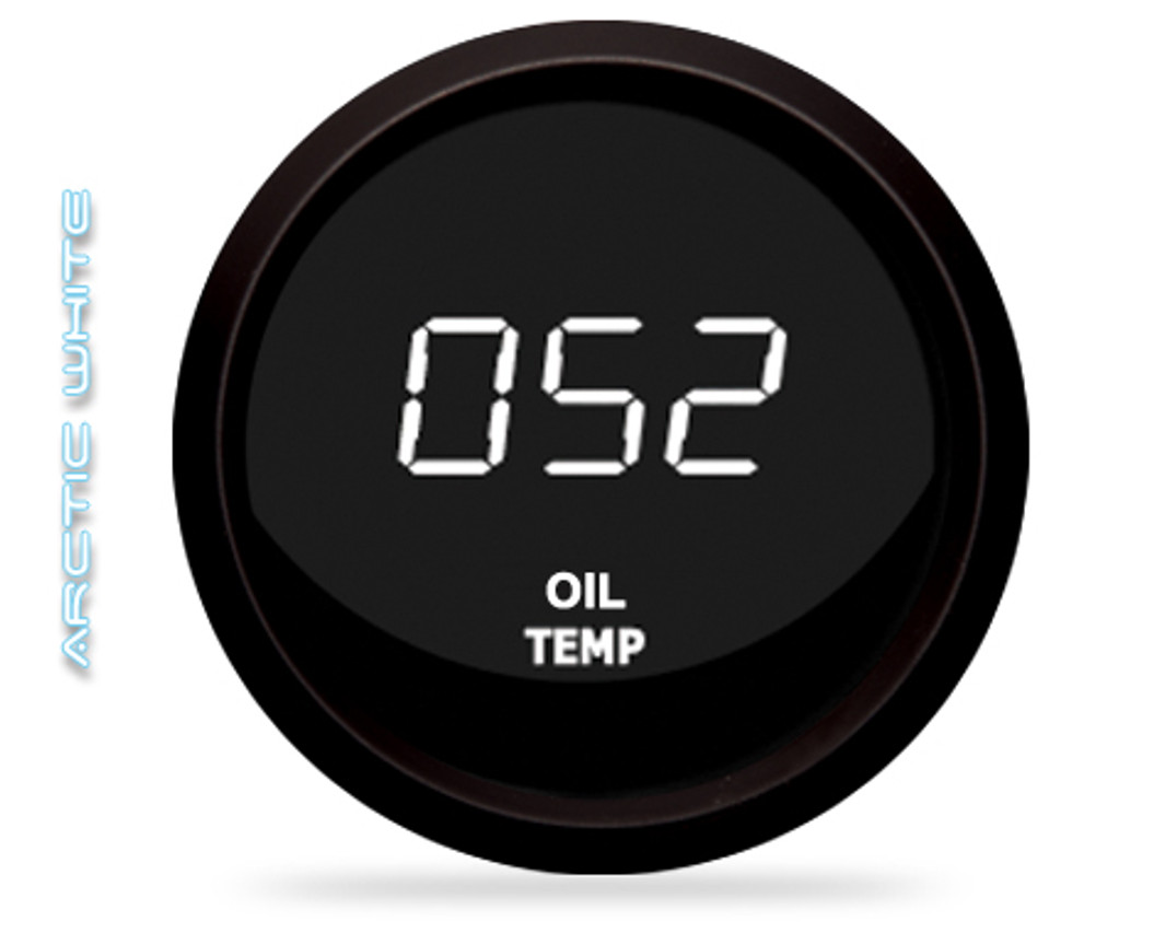 Oil Temperature LED Digital Black Bezel - M9108 The LED Digital Oil Temperature gauge is microprocessor-controlled and has a 50-250 degrees Fahrenheit range of accuracy! Intellitronix Oil Temperature gauge has precision accuracy, super bright LED lights, and electronic intelligence all in one.