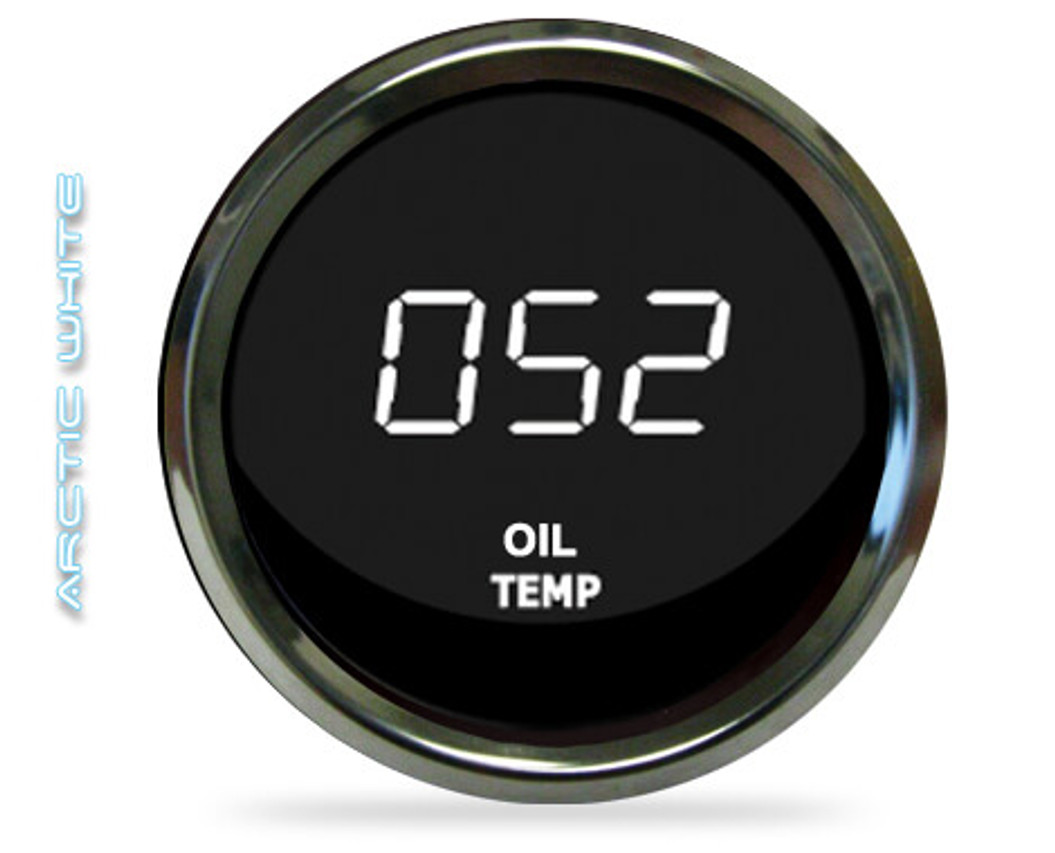 Oil Temperature LED Digital Chrome Bezel - MS9108 The LED Digital Oil Temperature gauge is microprocessor-controlled and has a 50-250 degrees Fahrenheit range of accuracy! Intellitronix Oil Temperature gauge has precision accuracy, super bright LED lights, and electronic intelligence all in one.   Other features include: