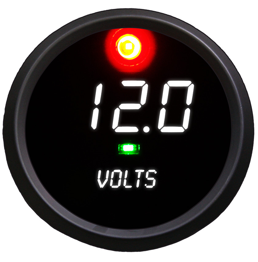 Voltmeter Co-Pilot Alarm LED Digital Black Bezel - C9015 Worrying about spikes in voltage level can now be a thing of the past with the Intellitronix super bright LED Digital Voltmeter Co-Pilot Alarm gauge! It automatically detects and alerts you when your voltage level becomes either too high or too low allowing you to worry less about constantly monitoring your gauges and focus more on doing what you love: driving!