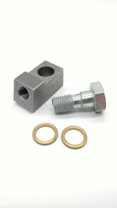 """Allows mounting of 1/8"""" NPT Senders & Fittings to 12mm Banjo Type Ports. Pressure Senders, Temperature Senders, Fuel and Oil Passages."""