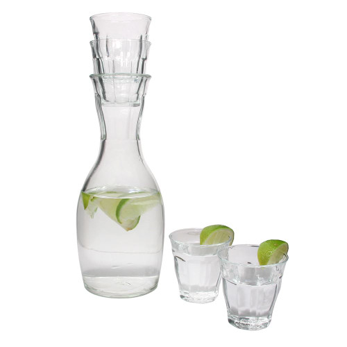 French Carafe 5 piece Set / Duralex Picardie