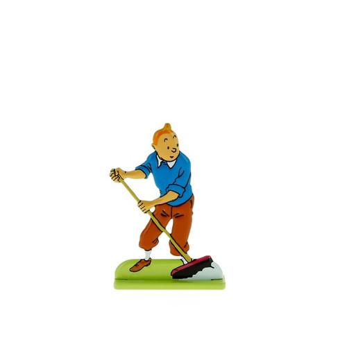 Tintin Metal Figure Sweeping