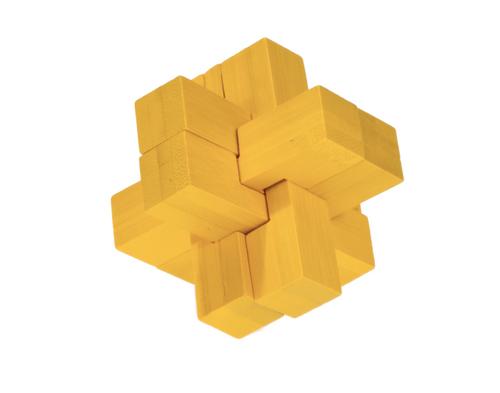 IQ Test Bamboo Puzzle / Block Cross yellow