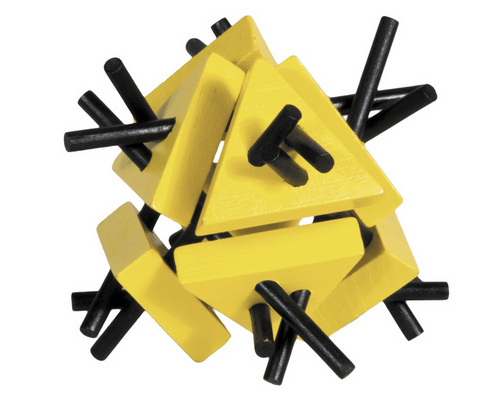 IQ Test Bamboo Puzzle / Triangles with Sticks yellow-black