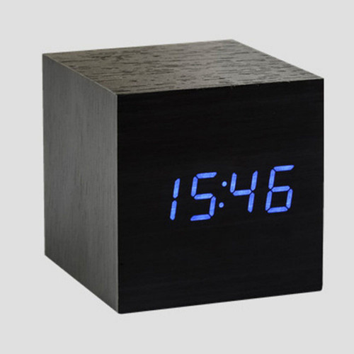 Cube Click Clock black / blue led display