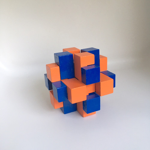 IQ Test Bamboo Puzzle / Block blue-orange