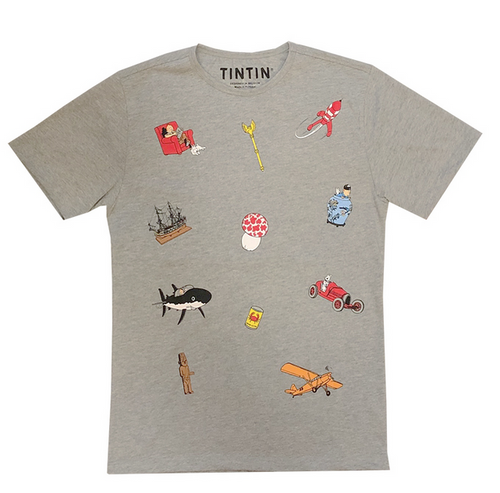 Tintin TShirt Icons grey