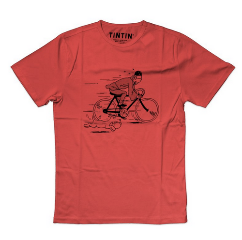 Tintin TShirt Blue Lotus Bicyle red