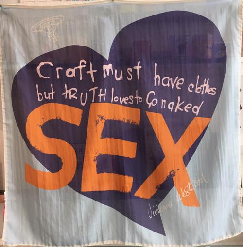 "Vivienne Westwood Scarf / Wall Hanging ""SEX"" light blue"