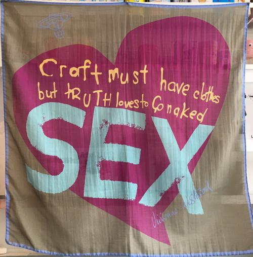 "Vivienne Westwood Scarf / Wall Hanging ""SEX"" light olive"