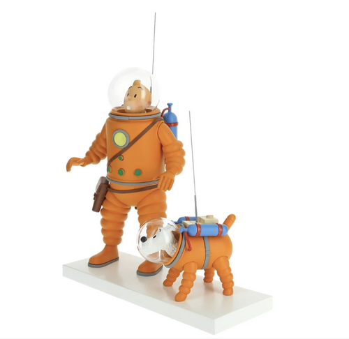 tintin and milou astronaut in space sculpture