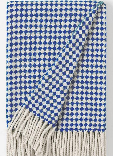 Mantecas Burel Wool Blanket - Throw / Tiles Mini blue