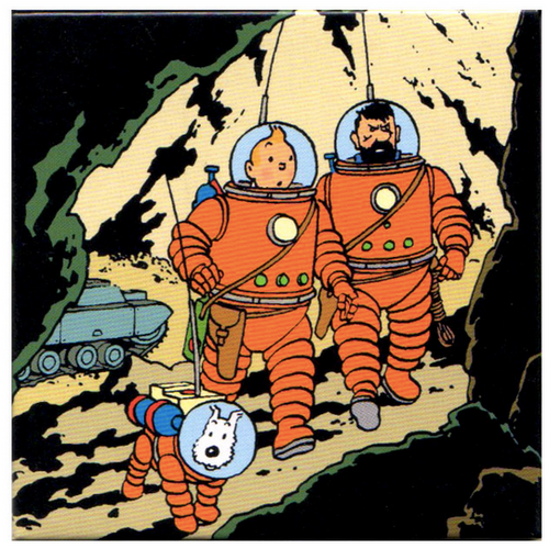 tintin magnet on the moon