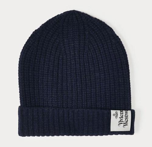 vivienne westwood wool beanie navy blue 3