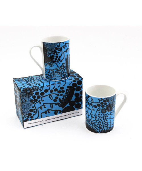 "Yayoi Kusama Mug Set / ""Late-night Chat is Filled with Dreams"""