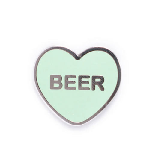 beer heart enamel badge