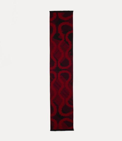 Vivienne Westwood Tartan Squiggle Orb Scarf red