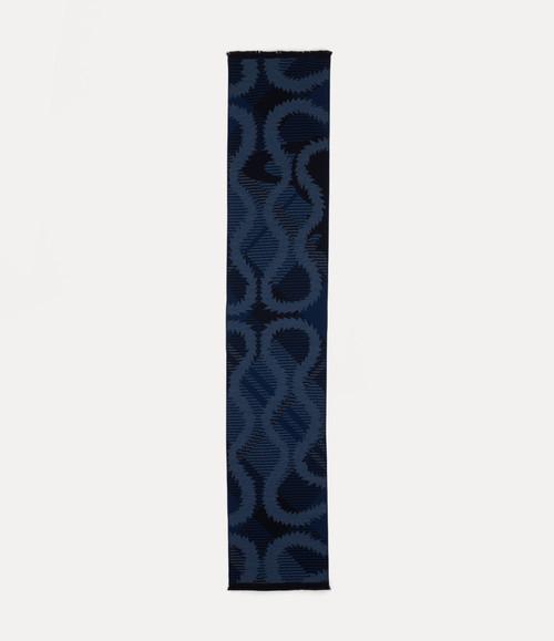 Vivienne Westwood Tartan Squiggle Orb Scarf navy blue 2