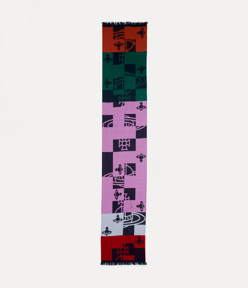 Vivienne Westwood Buffalo Orb Check Scarf pink