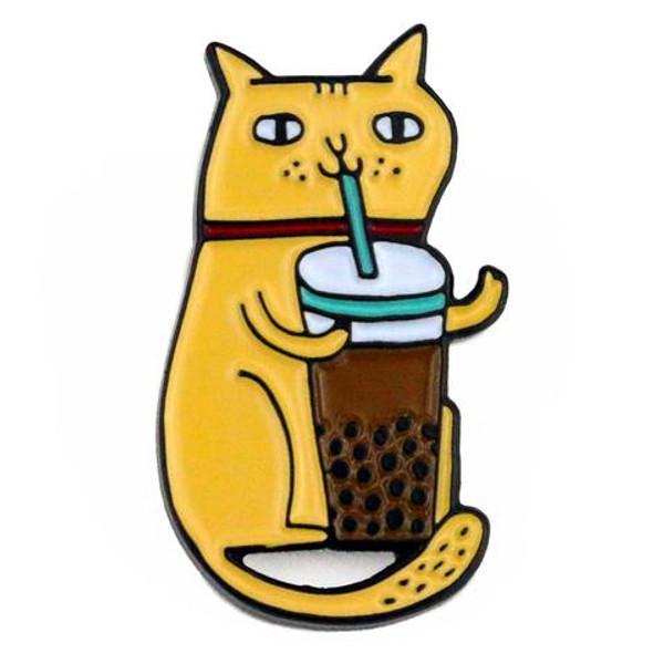 Bubble Tea Cat Enamel Badge