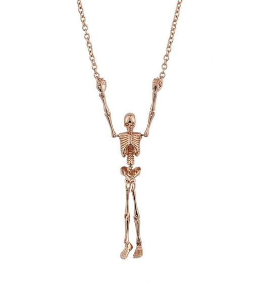 Vivienne Westwood Skeleton Necklace Pink Gold