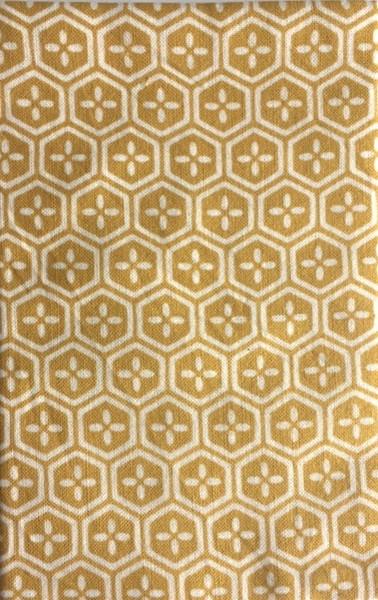 Kawamanu Tenugui Flower-Hexagons mustard / Multi-purpose Japanese Cloth