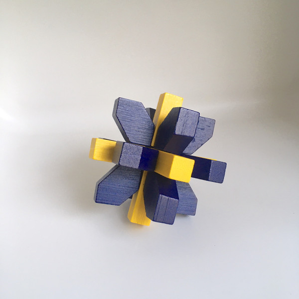 IQ Test Bamboo Puzzle / Crystal blue-yellow