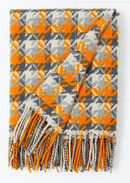 burel blanket Porto orange-grey