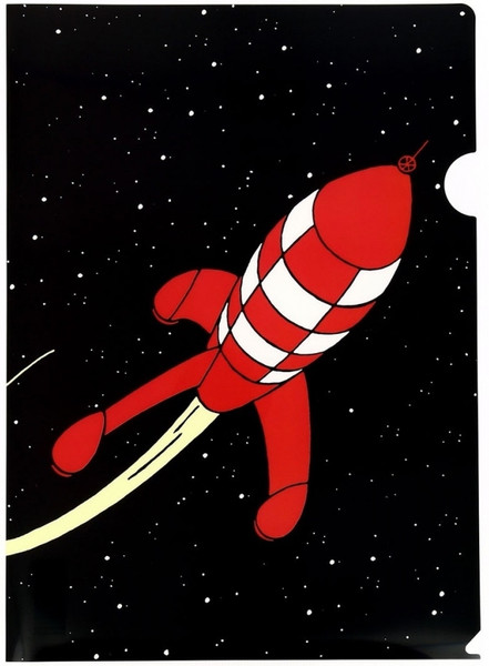 tintin folder rocket in space