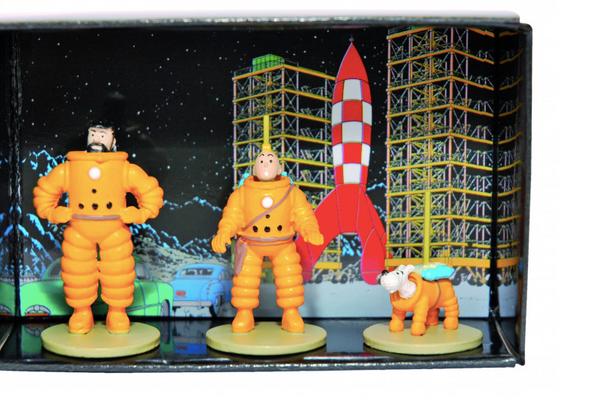 Tintin, Captain Haddock and Milou Mini Lunar Figures Cosmonaute / Astronauts 1