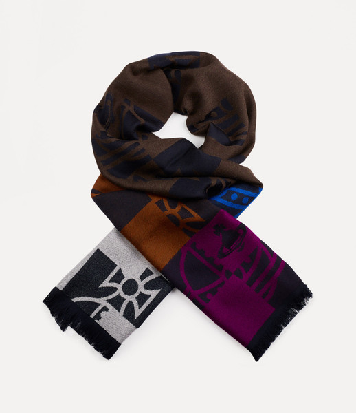 Vivienne Westwood Buffalo Orb Check Scarf brown