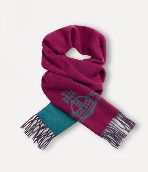 Vivienne Westwood Two Side Single Orb Scarf cherry