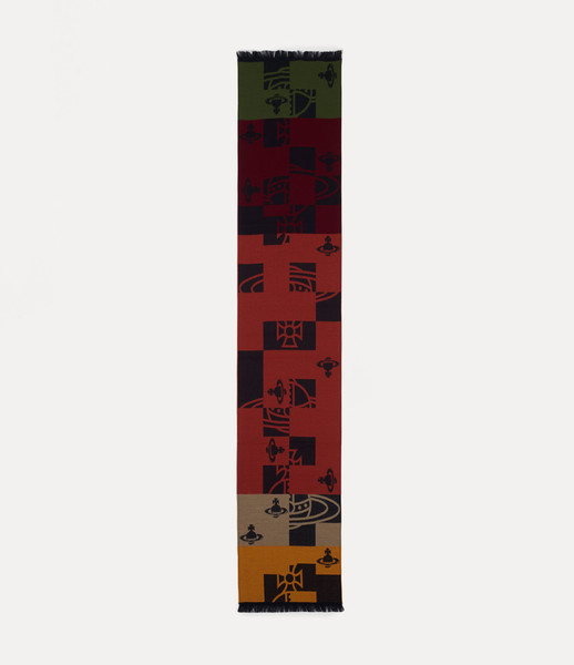 Vivienne Westwood Buffalo Orb Check Scarf red