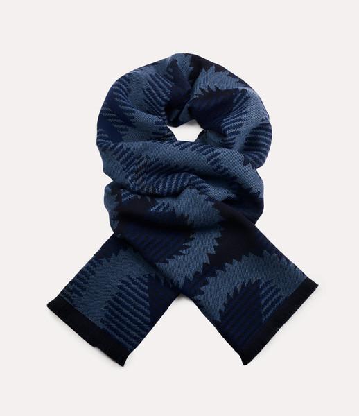 Vivienne Westwood Tartan Squiggle Orb Scarf navy blue