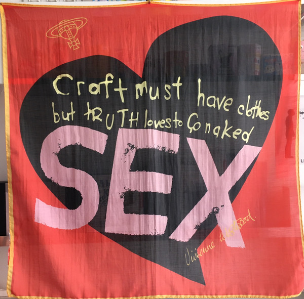 """Vivienne Westwood Scarf / Wall Hanging """"SEX"""" light red"""