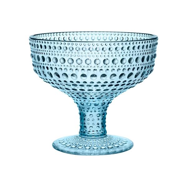 Kastehelmi Footed Bowl blue