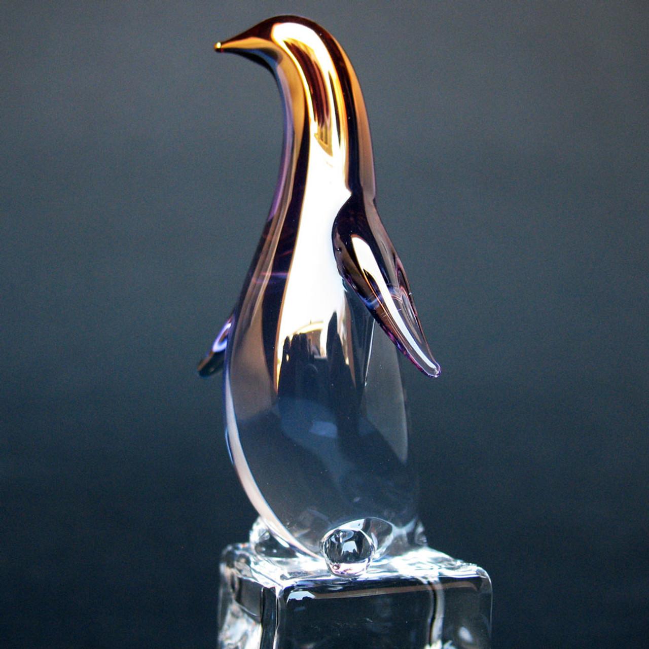 Glass sulphide penguins on ice press-paper