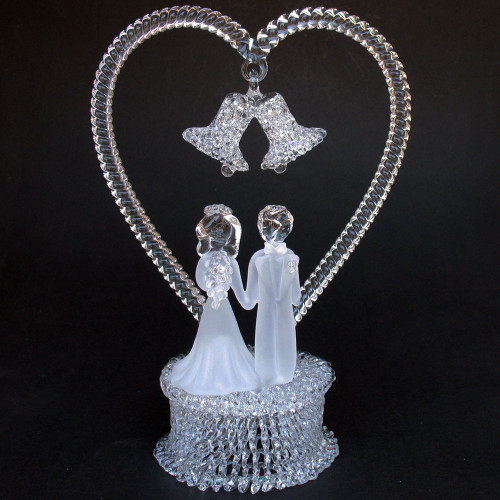 Bride and Groom Glass Wedding Cake Topper
