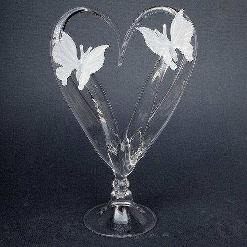 Butterfly Wedding Cake Topper of Blown Glass