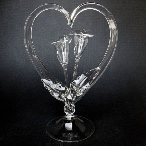 Calla Lily Blown Glass Wedding Cake Topper