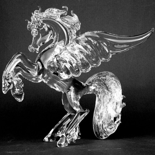 Hand Blown Glass Pegasus Crystal Figuirine