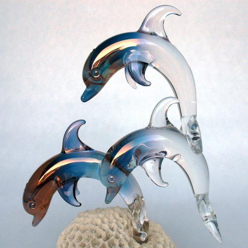 Blown Glass Dolphins Figurine Crystal Sculpture